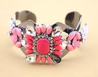 high quality 2014 fashion jewelry new design luxury rhinestone pink color shourouk cuff bracelets for women