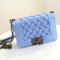 Free shipping New 2014 Fashion Women Handbags Knitted Chain bag PU leather Shoulder bags Messenger bags Day Clutches 7 Colors