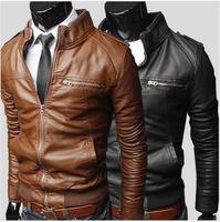 New 2014 Autumn Winter 20 Men's PU Jackets, Motocycle Punk Leather Coats Men, Big Size XXL