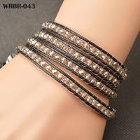 European Style Bracelets Fashion Handmade Leather Bracelet 4 Rows Bracelet 6mm Crystal Beads Leather Wrap Bracelets WRBR-043
