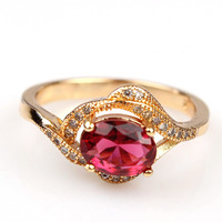Wedding womens ring 18k yellow gold filled 1.2ct cut zircon high quality fashion jewelry ruby Round jewelry size 9