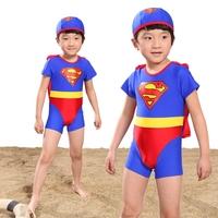 Marble child swimwear super man male child one piece trunk sunscreen piece set spa baby swimwear