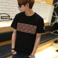 2014 new men's t shirts men short o-neck and sleeve slim skull print cotton casual tshirt  t-shirt for man1pcs/lot wholesales