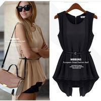 2pieces/lot 2014 New Fashion Women's Pleated Blouse Irregular Sleeveless Chiffon Shirt With Belt Slim Waist S M L 3 Sizes nz23