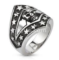 Wholesale lots Men Finger Stainless Steel Patriotic Skull Shield Cast Ring