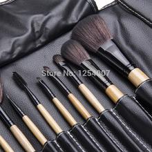 Professional 12pcs Face Makeup Brush Set with Black Leather Bag Make Up Brushes Free Shipping Wholesale(China (Mainland))