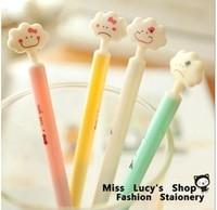 Free ship 1lot=48pcs/Korean stationery kawaii Expression clouds neutral pen can do dustproof plug school supplies