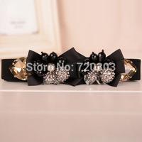 New Arrival 2014 High-Quality Fashion Luxury Ribbon AAA Crystal Beaded Rhionestone Belts For Women Dress Thin Cummerbunds