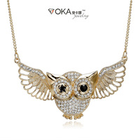 Owl Necklaces& Pendants Gold Jewelry Gift For Women Wholesale 2014 With Chunky Chain Free Shipping
