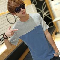 free shipping 2014 new men's pocket t shirts mens short o-neck and sleeve slim cotton casual tshirt  t-shirt for man wholesales