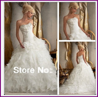 DCD143 Organza Ball Gown Wedding Dress Fashion Style Appliqued Bridal Gown