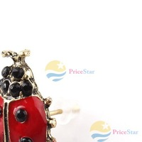 PriceStar Fashion Cute Nice Style Red Girls Alloy Lady Pair Beetle Ladybug Stud Earring Worldwide free shipping