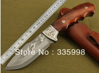 Damascus Knives 58 HRC Hard Straight Damascus Steel Knife Hunting Camping Knife With Red Sandalwood Free Shipping