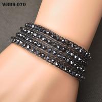 Free Shipping New Charm Bracelet Handmade Leather Bracelet 4 Rows Bracelet 6mm Crystal Beads Leather Wrap Bracelets WRBR-070