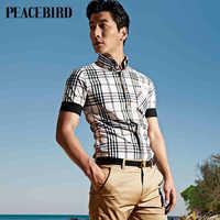 Peacebird men's fashion self-cultivation shirt / blouse B1CC32513B8 lattice