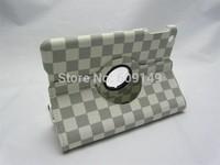 30pcs/lot Free shipping 3colours Grid 360 degree rotaing leather protective cover case for ipad mini 1 2 For ipad mini flip case