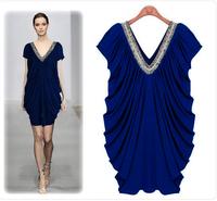 2014 New Summer Women's Dress Purely Hand-made Bead V-neck Slim Big Size Europe One-Piece Dress
