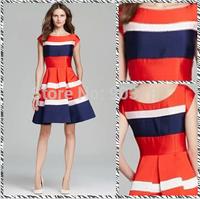 Free shipping 2014 Summer Hit Temperament New Rainbow Stripes Slim Put Large Dress KC583