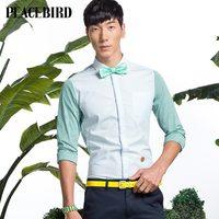 Peacebird men's genuine men's fashion stripe long sleeve shirt slim tide B2CA31310A0