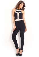 Sexy Slim Fit Sleeveless Club Night Jumpsuit LC6289 round neck mesh back zipper sheath women jumpsuits 2014 Pants Overall