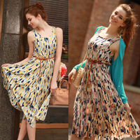 New Summer Womens Sleeveless Pleated Chiffon Floral Print Vest Knee-Length Dress