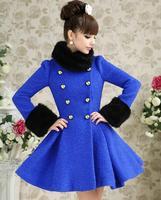2013 Winter High Quality European Lady's Blue Overcoat Patchwork Fur Collar Topcoat Slim Waist Ruflles Thick Woolen Dress Coat
