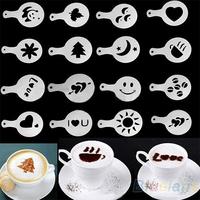 16Pcs/set  Fashion Cappuccino Coffee Barista Stencils Template Strew Pad Duster Spray Tools accessories 01UY