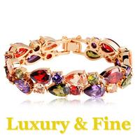 Free Shipping Wholesales 18K Gold Plated Luxury Women Crystal Bracelet Fashion Christmas Gift Water Drop Women Jewelry