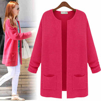 2014 New Fashion  Europe Autumn And Winter Women 4 Color Loose Cardigan Sweater Coat Long Woolen Sweater Jacket Casual OJZ6
