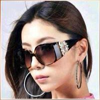 Free Shipping 2014 New Brand Lovely Fashion Glasses Eyewear Black Polarized Women Flower Uv Radiation Sunglases Wholesale