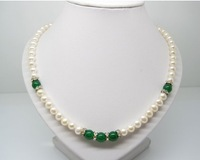 Natural pearls with green agate necklace freshwater pearl necklace