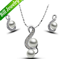 Free Shipping New Arrival Pearl Pendant Necklace Earrings Set Fashion Musical Notation Rhinestone Jewelry Sets