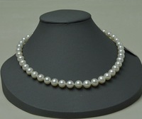 Natural white 9-10 mm round pearl necklace