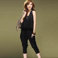 Fashion Summer Women Casual Jumpsuits.Short Sleeve black Jumpsuit.  lady Rompers js1028