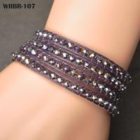 Wholesale Price Gift For Women DIY Leather Bracelet 4 Rows Bracelet 6mm Crystal Beads Leather Wrap Bracelets WRBR-107