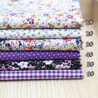 49CMx49CM purple series 6 pcs/lot neadend cloth cotton Fat Quarters Cotton Fabric Patchwork Tilda Scrapbooking Fabric for Sewing