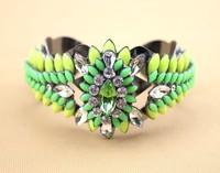 Newest 2014 hot sale shourouk style hollow design fluorescence color crystal flower cuff bracelet bangle for women