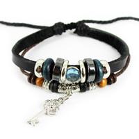 Hot Sale! 2014 New Arrival Vintage Hollow Key Shaped Braid Woven Charm Leather Bracelets For Unisex