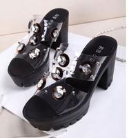 10cm heels new fashion diamond shoes slippers transparent rhinestone sexy casual women sandals F-778-7