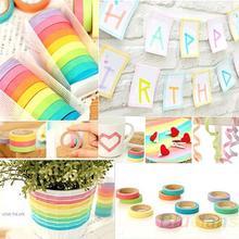 10pcs Decorative Washi Rainbow Sticky Paper Masking Adhesive Tape Scrapbooking DIY for School 01Z7(China (Mainland))