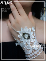 Vintage jewelry pattern lace bracelet belt ring white