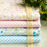 4PCS 50CMx50CM pink blue butterflies plaid Cotton Fabric Fat Quaters doll cloth Quilting tissue scrapbooking Patchwork tecidos