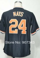#24 Willie Mays Jersey,Throwback Baseball Jersey,Best quality,Embroidery logos,Authentic Jersey,Size M--3XL,Can Mix Order