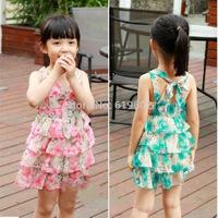 Free shipping!  new 2014 summer Kids for girls chiffon strap dress vest tulle dress kids tutu dress girl dress with flower
