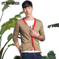 Peacebird men's men's fashion cardigan sweater knit collar / V / B2ED3150370