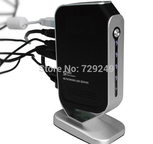 Free shipping 4 Port Networking USB 2.0 Print Server M4B Printer Share 4 USB port HUB Devices 100Mbps 2014(China (Mainland))