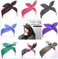 free shipping Retro Wire Headband Head Hair Band Head Wrap Polka Dot Rockabilly Ears many colors