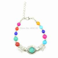 1 PCS Antique Silver Plated Multicolor Beads Butterfly Charm Bracelet Vogue Elegant Vintage Jewelry Length Adjustable