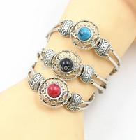 1 PCS Tibetan Silver Plated Mixed Round Turquoise Beads Charm Bracelet Vogue Elegant Vintage Jewelry Length Adjustable