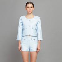 YIGELILA 819 Latest Ladies Women Casual Suit Sets Three Quarter Sleeve O-Neck Soft Blue Sets Free Shipping